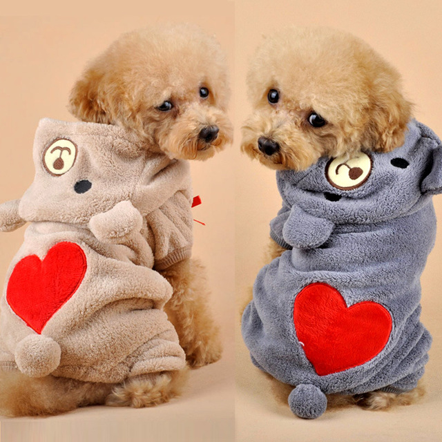 4ed2dcf75 2019 Stylish Pet Chihuahua Dog Clothes With Red Heart Coral Fleece Clothes  For Small Dogs Cats Coats Jackets Puppy Overalls