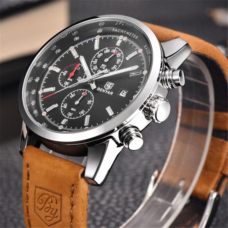 BENYAR Marque Sport Montre Homme Top Marque De Luxe Mâle En Cuir Étanche Chronographe Quartz Montre-Bracelet Militaire Hommes Horloge saat