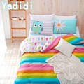 YADIDI 100% Cotton Rainbow Owl Bedding Set Cartoon Modern Flower Floral Twin Queen Size Stripe Bed Duvet Cover Sheet Summer