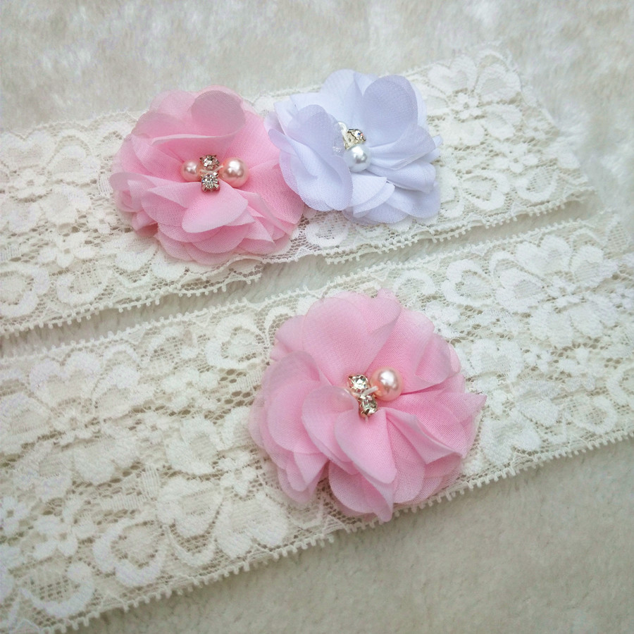 1 Pair Wedding Vintage White Lace Garter Pink Chiffon Flower Garter