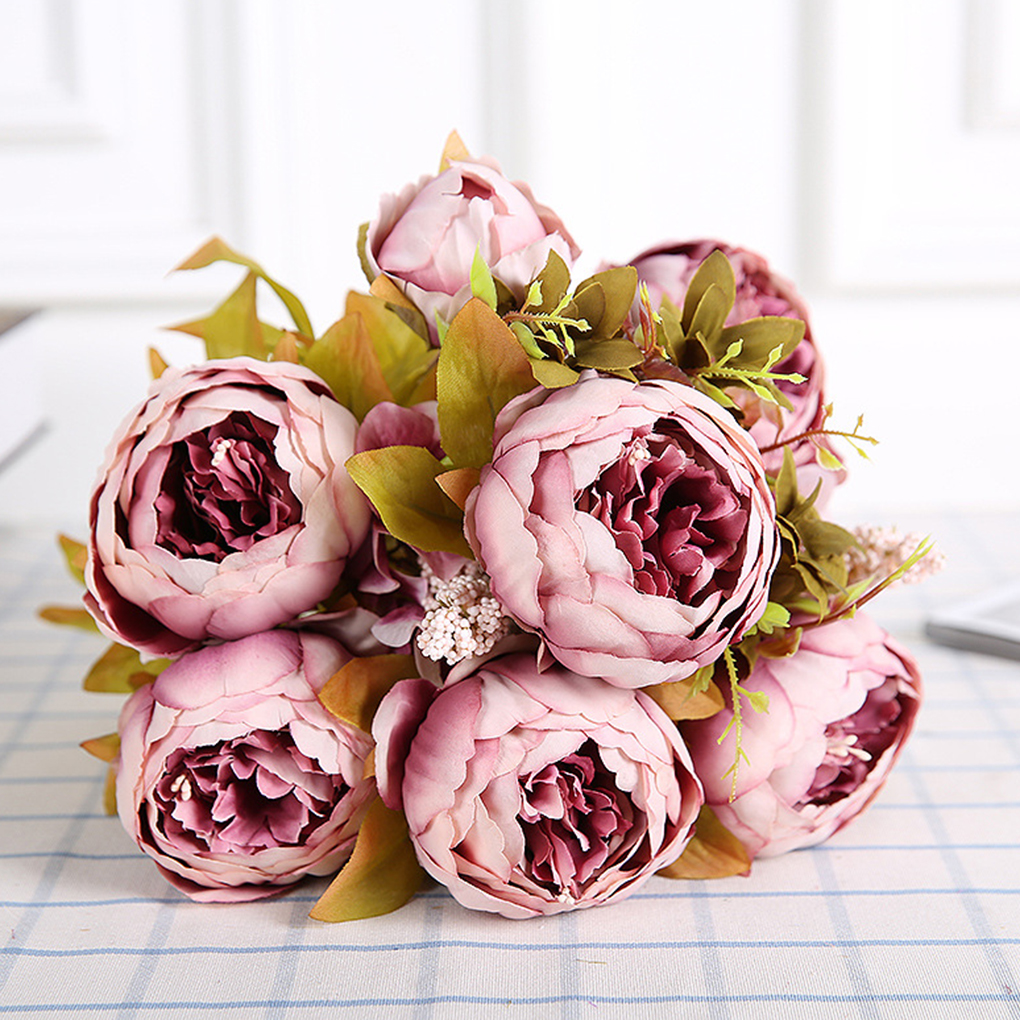 Artificial Silk Peony Bouquets 6 Big Flowers for Wedding Party Office Hotel and Home Decoration 5 Color
