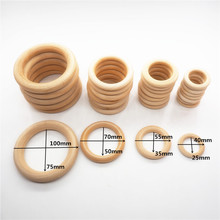 Chenkai 10cm 10PCS Natural Wood Unfinished Wood Rings Wooden Teethers For DIY Infant/Baby Necklace Bracelet Accessories