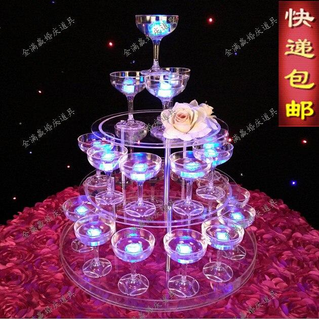 Tour de mariage à champagne à 3 niveaux | Accessoires d'approvisionnement de mariage acrylique clair, tour à champagne à 3 couches tour à vin, tour à champagne
