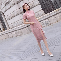 Luxury Women chinese dress embroidery lace flower Sexy modern qipao style dress 2019 Vintage chinese Cheongsam clothing