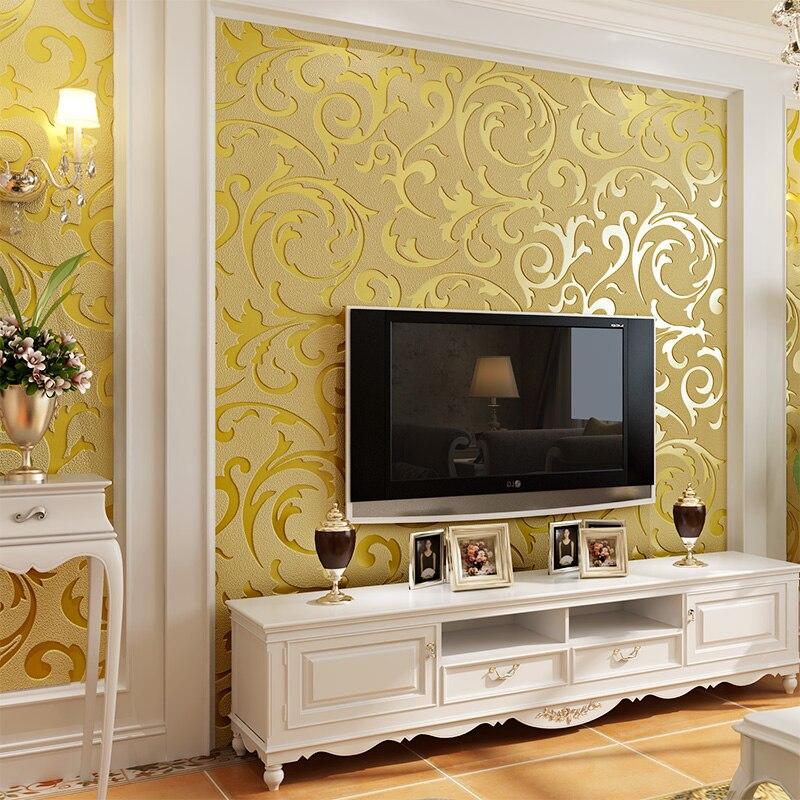 Rouleau de papier peint de velours de daim d'épaississement 3d d'entrejambe de feuille d'acanthus d'or de luxe pour le fond de TV papier peint 3d de papier peint de papier peint de papel 3d