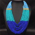 2017 New Bohemian Necklace Acrylic Strand Beads Multi Layer Necklace Women Geometric Gold Chain Necklace Boho Jewelry