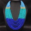 2017 Nueva Bohemia Collar de Cadena de Acrílico Perlas Collar de Múltiples Capas de Las Mujeres Geométrica Collar de Cadena de Oro Joyería Boho