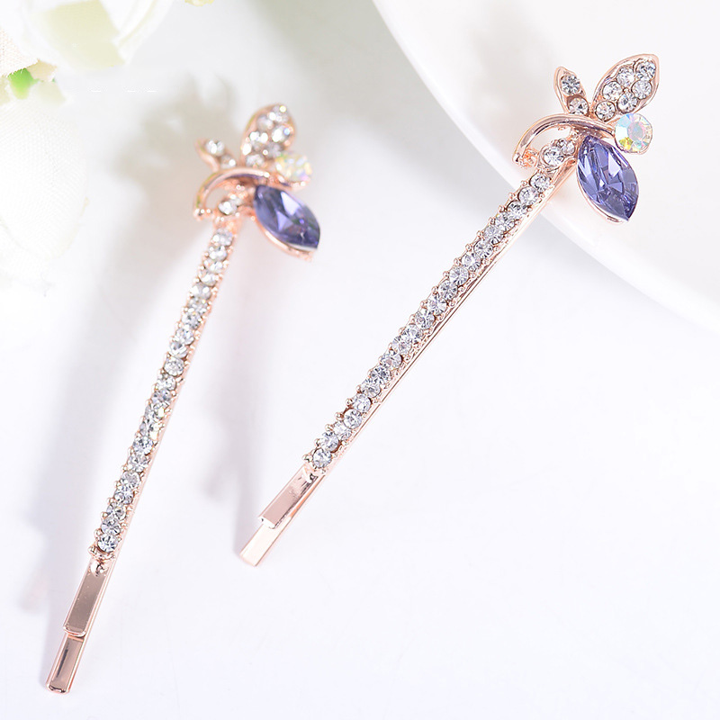1Pair Women Girls Hot Fashion Crystal Plant Shape Cute Hairpin Side Clip Hair Clip Hairpin for Ladies Girl Jewelry Accessories