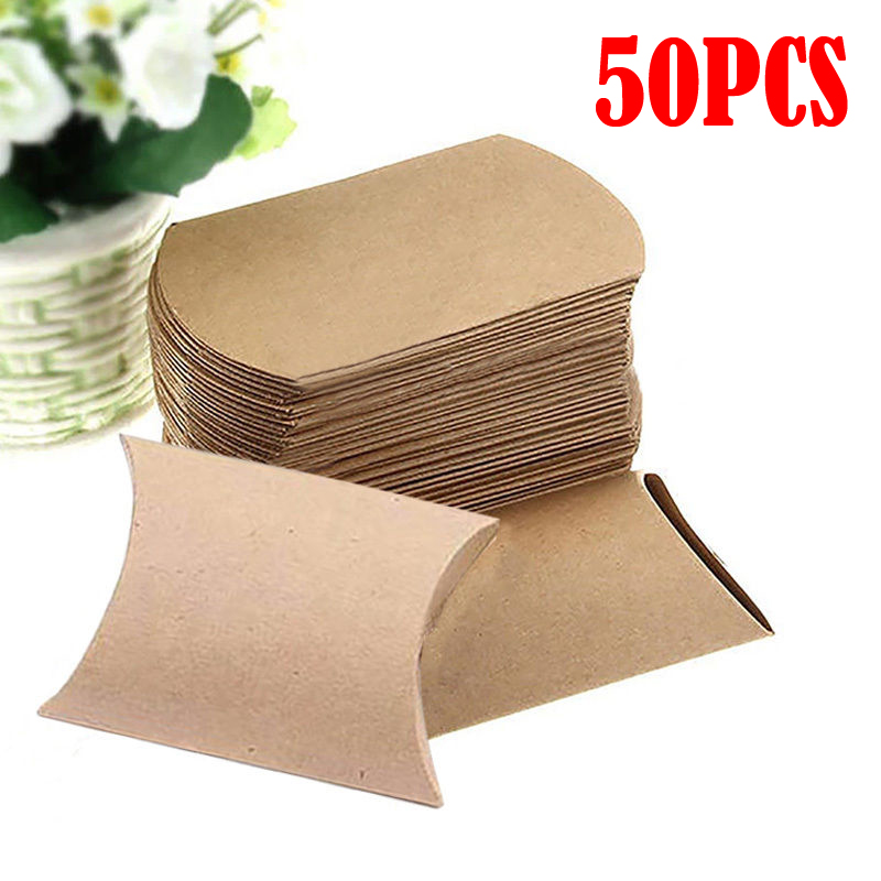 50PCS Kraft Paper Pillow Favor Box Wedding Party Favour Gift Candy Boxes Home Party Birthday Supply in Gift Bags Wrapping Supplies from Home Garden