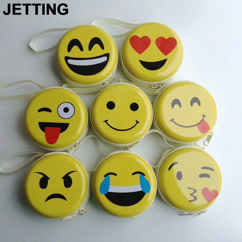 JETTING 1PCS Emoji coin purse Cute Portable Coin Purse Keyring Pouch Wallet Earphone Headphone Earbud Carrying Boxes Purse Case цена 2017