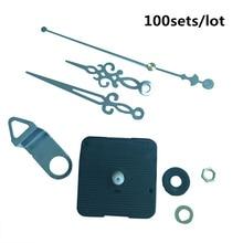 100sets Silent Wall Clock Mechanism Quartz Movement pointer Mute Slab Dedicated Long Thread Axis Length 28mm with hook