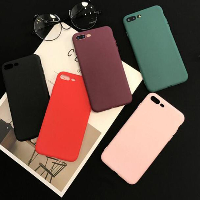 Hot sale Case For iphone XS MAX XR X 6 S 6S 7 8 Plus Fashion Simple Solid Color Ultrathin Soft TPU Silicone Phone Cases Cover
