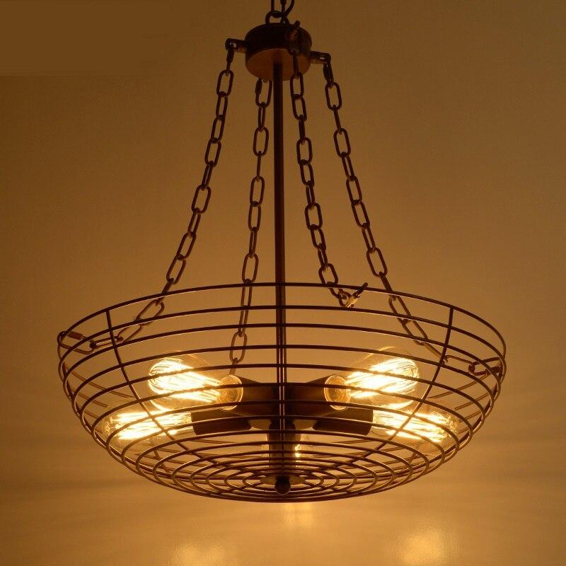 Ретро Утюг подвесные светильники творческий ресторан бар художественная роспись коридор отель спальня личности 5 головок подвесные светил