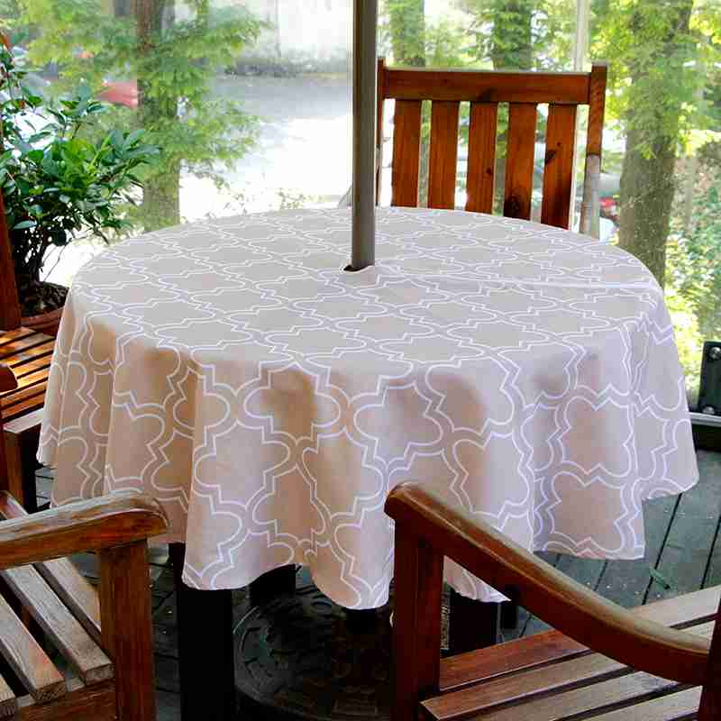 Ufriday Round Outdoor Umbrella Tablecloth Zipper Geometric