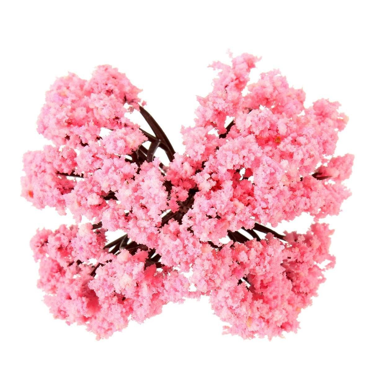 Hot 5pcs Pink Flower Tree Miniature Fairy Garden Dollhouse Layout
