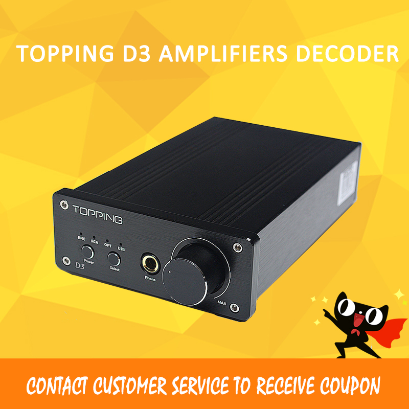 Topping D3 Mini Amplifier Decoding 24bit / 192kHz DAC Coaxial/USB/Optical BNC cs8416 + cs4398 Headphone Amplifiers Decoder cs8416 cs4398 dac diy kit with usb coaxial 24 192k decoder kit ac15v 32k 192k 24bit for hifi amplifier