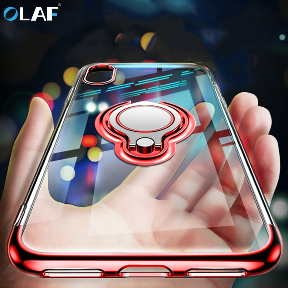 Luxury Plating Transparent TPU Silicone Ring Holder Case For iPhone X 6 6s 7 8 Plus Stand Phone Case Capa Magnetic Car Holder