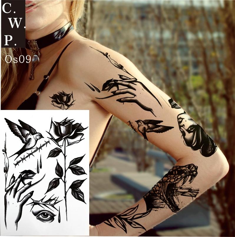 Os09 1 Peça Vintage Black Rose Tatuagem Temporáriapreto