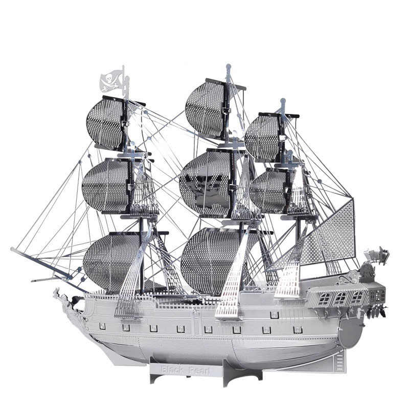 Piececool 3D Metal Puzzle Toy DIY Black Pearl Pirate Ship Model Assembly Warship Building Kits Educational Puzzles For Kids Gift