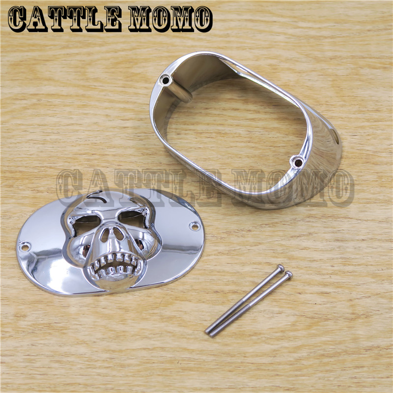 купить Rear brake light cover Skull head For Softail Sportster Road King Dyna Glide Electra Glide Night Train Fat Boy LOW RIDER недорого