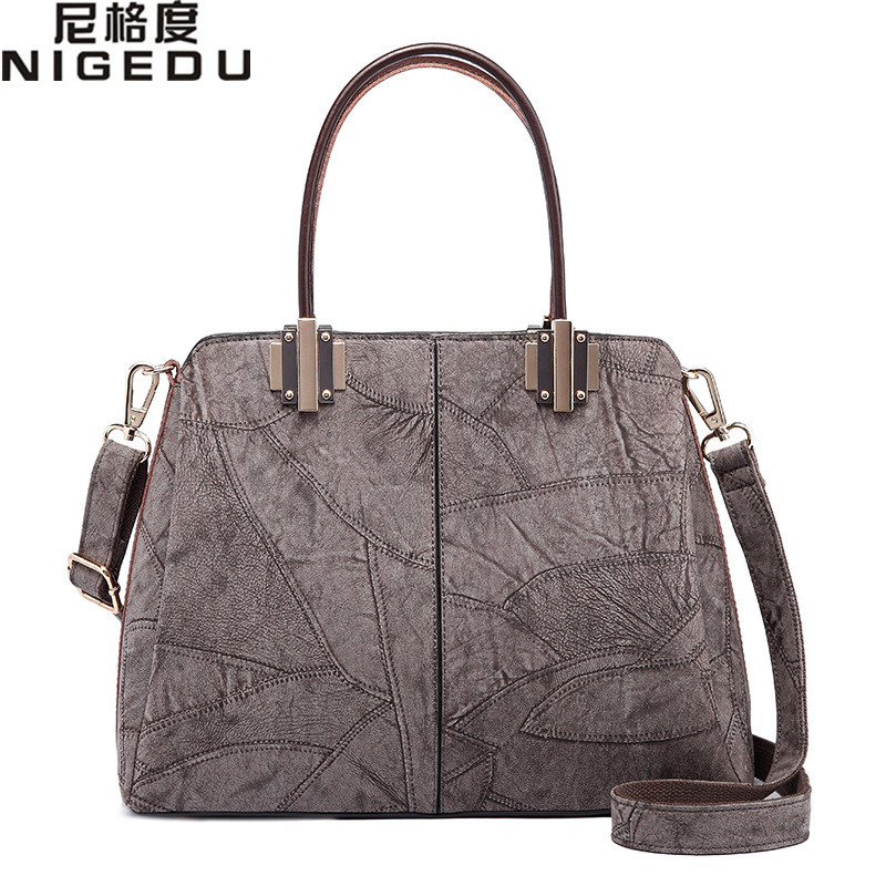 NIGEDU brand Women's Genuine Leather Handbags Ladies Luxury office handbag Large Shoulder Bag for Women Messenger Bags Big Totes luxury genuine leather bag fashion brand designer women handbag cowhide leather shoulder composite bag casual totes