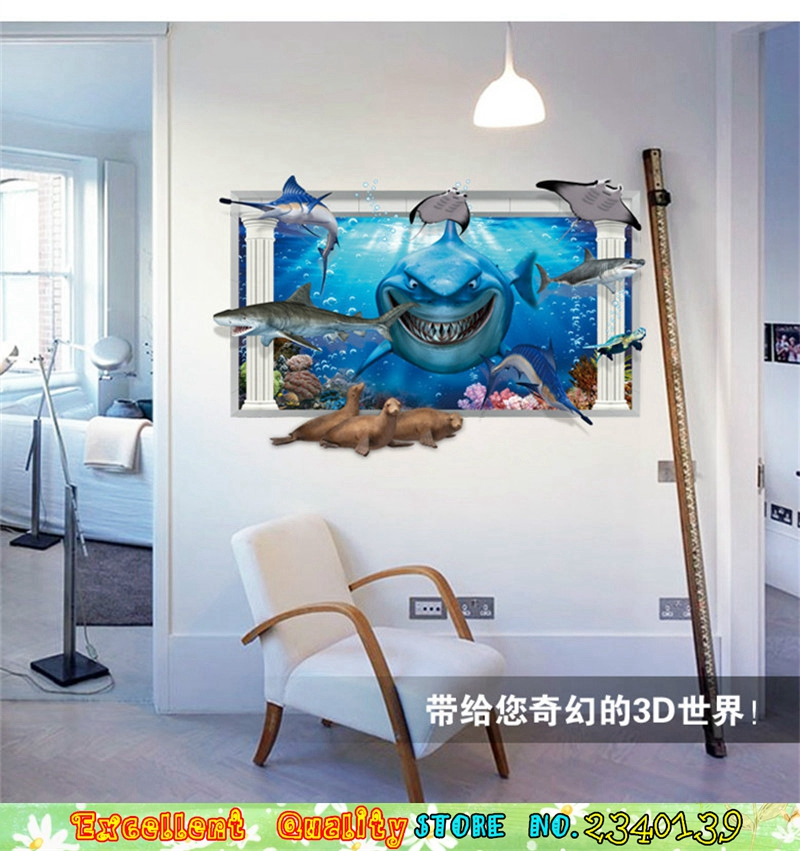 Movie Finding Nemo Poster Wall Sticker 3d Window Ocean Shark Wall Art Decals Waterproof Home Bathroom