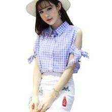 Qbale 2017 summer cold shoulder tops women 90s cute short sleeve bow lace-up plaid shirt womem chemise femme
