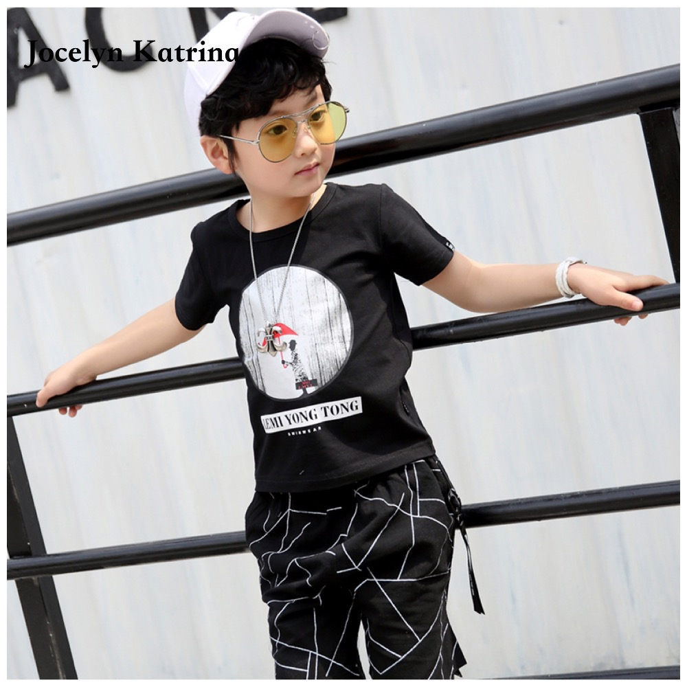 Boys Clothing Set 2017 Brand New Summer Fashion Style Cotton Kids Clothes Short Sleeve T-shirt+Pant Casual Boys Clothes 3-14Y brand fashion kids summer slim top mickey kid t shirt minnie mouse boys clothes shirts cotton short sleeve tee shirt