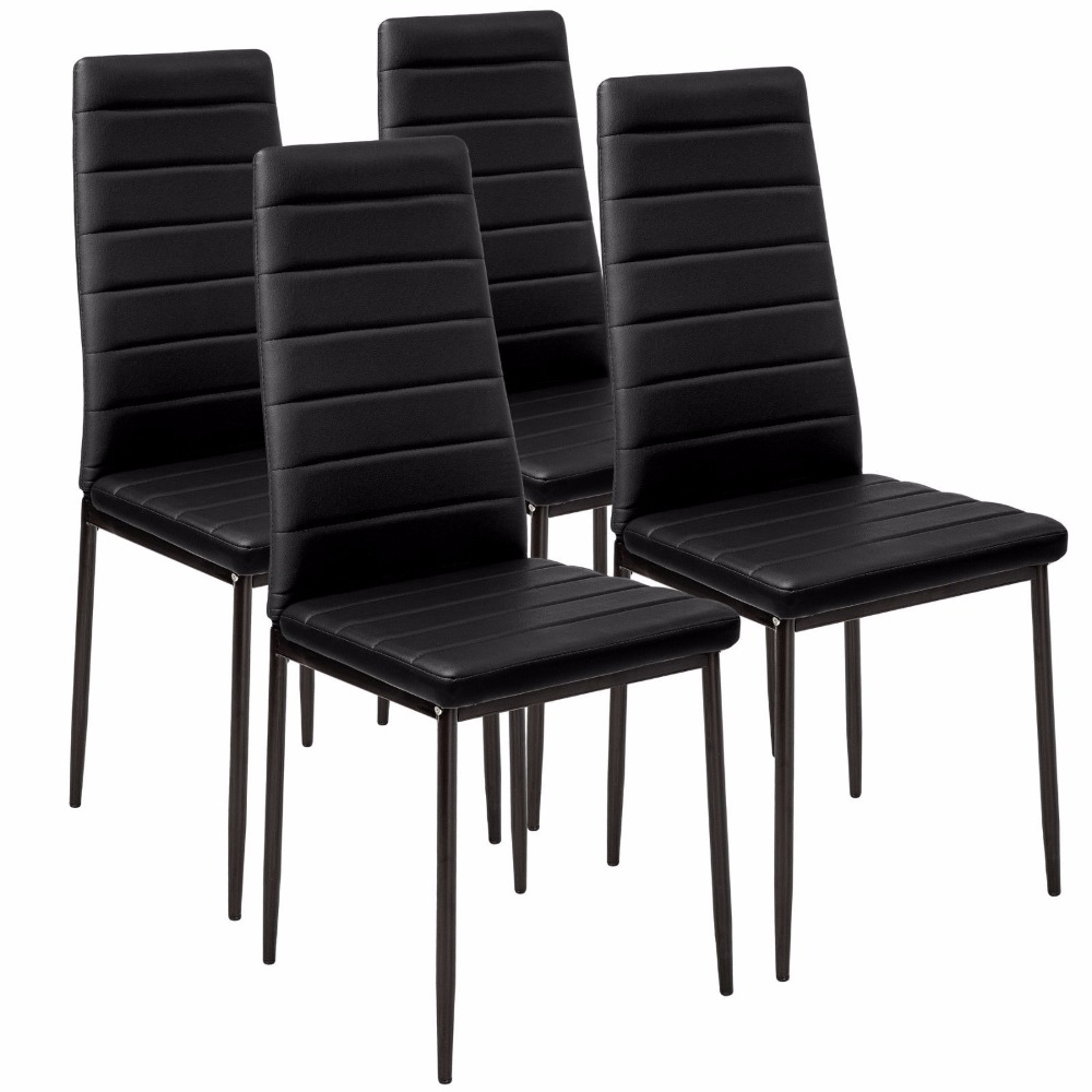 Faux Leather Dining Chair Black High Back Chrome Leg 4pcs Lot Room Dropshipping In Chairs From Furniture On Aliexpress Alibaba