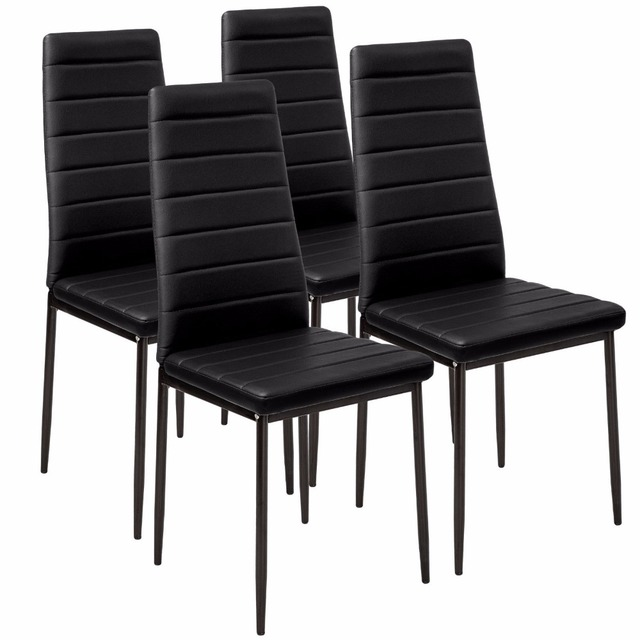 black dining room chairs with chrome legs brown plastic adirondack faux leather chair high back leg 4pcs lot dropshipping