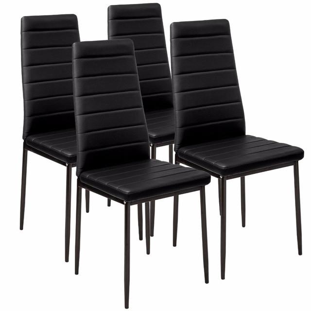 Faux Leather Dining Chair Black High Back Chrome Leg 4pcs Lot Room Dropshipping