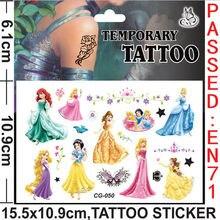 20sheet/lot Disny Princess Snow White Sleeping Beauty Waterproof Temporary Nontoxic Tattoos Sticker For Party Decorative Favor