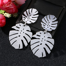 Badu Big Palm Leaf Metal Earring for Women Punk Jewelry Exaggerated Earrings Fashion Christmas Wholesale