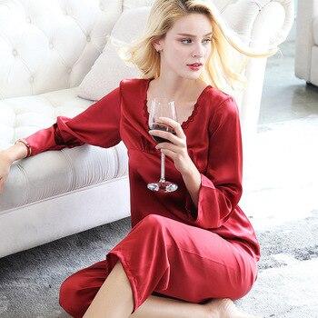 T77136 New Fashion Sleeping Wear Women's Round necks Embroidered Pajama Sets 100% Silk household clothes