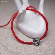 0d9681a47434 OM 925 cuentas de plata esterlina rojo pulsera para mujeres suerte  brazalete de cadena de amuleto