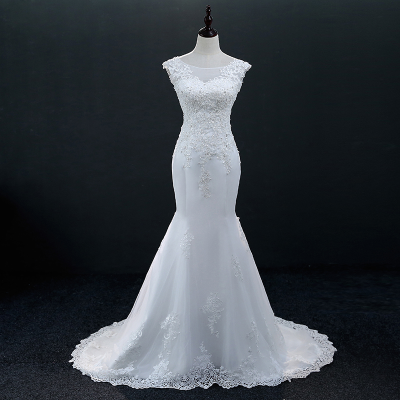 White Sleeveless Lace Mermaid Wedding Dress 1