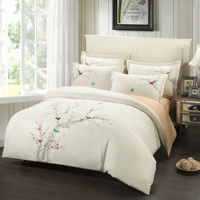 Embroidery Plum Tree Magpie Birds Cotton Bedding Sets Queen King Size Duvet Cover Set Beige Pink