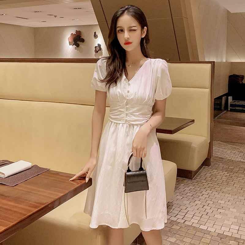 2019 летние женские платья с v-образным вырезом повседневные праздничные с коротким рукавом однотонные черные белые миди шифоновые Расклешенные платья для женщин