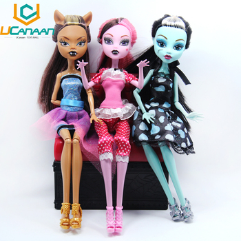 NO BOX UCanaan Dolls Draculaura/Clawdeen Wolf/ Frankie Stein Moveable Joint Body High Quality Girls Plastic Classic Toys Gifts