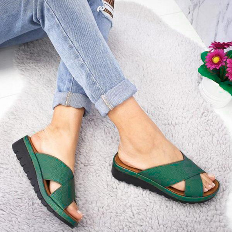 Litthing Summer Shoes Woman Slippers Outdoor Cross Sandal Mid-heel Wedge Soft Bottom Comfortable Sandals Sandalias Shoes
