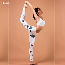 Oyoo Comfy High Waist White Butterfly Printed Yoga Pants Quick Dry Saffron Print Red Gym Fitness Leggings Elastic Running Tights