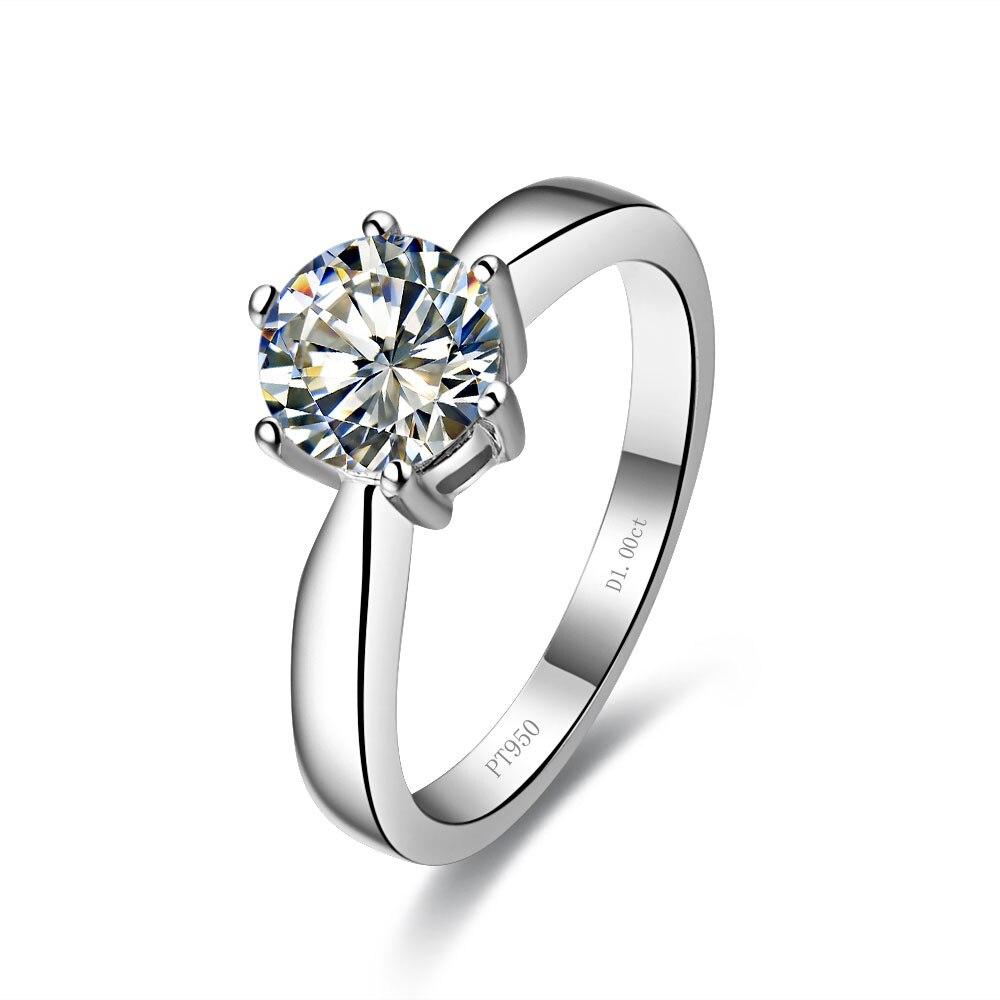precioso diseo redondo ct anillo de matrimonio slido oro blanco diamantes sintticos au anillo mujeres da de aniversario