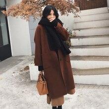 Фланель новый бренд Дизайн зима Женская одежда карман отложной воротник теплая шерсть Длинные свободные Пальто для будущих мам модные Куртки верхняя одежда