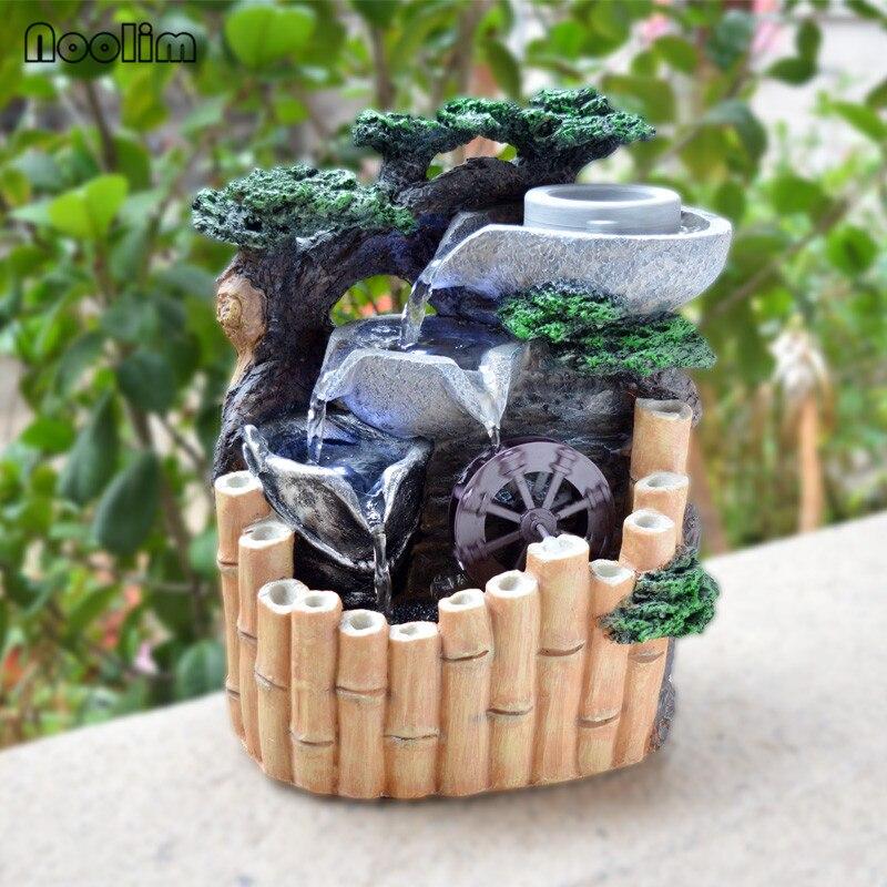 스톤 밀 대나무 rockery 홈 오피스 데스크탑 물 분수 장식 액세서리 풍수 휠 분수 수지 공예 장식품-에서피규어 & 미니어처부터 홈 & 가든 의  그룹 1