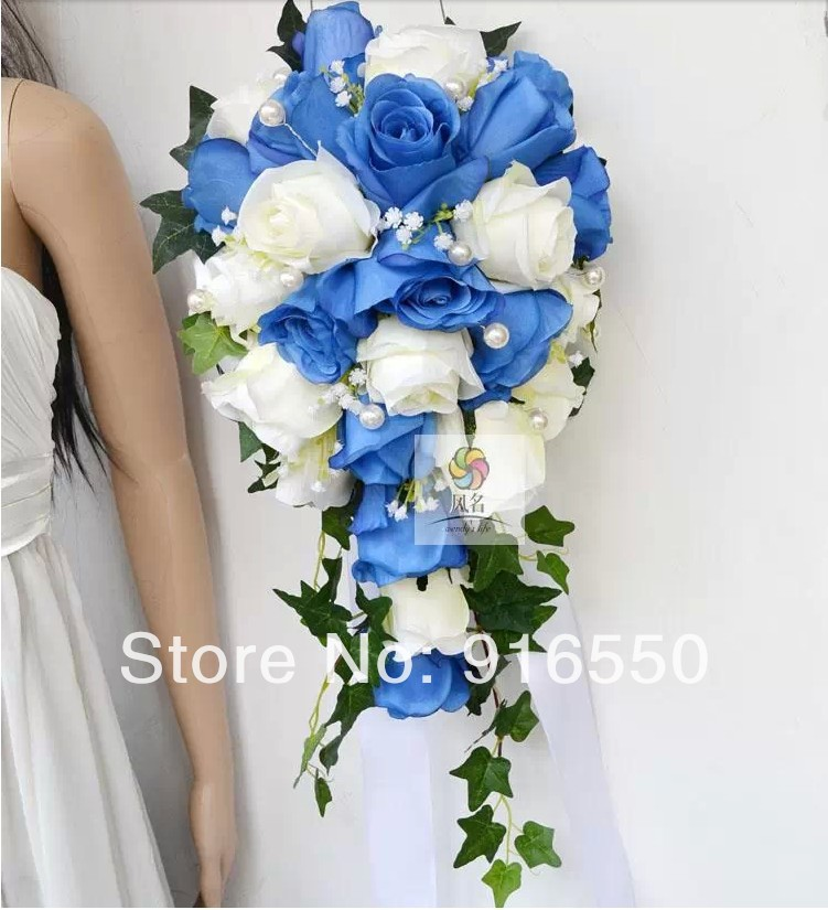Silk Flower Blue and White Rose with Pearls Cascading Silk Bouquet ...