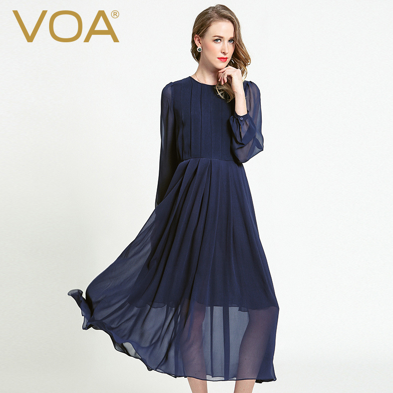 VOA Silk Georgette Pleated Dress Women Long Dresses Solid ...