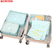 RUPUTIN 6Pcs/Set Oxford Cloth Packing Cube Suitcase Storage Cosmetic Clothes Shoe Bag Large Capacity Mesh Travel Accessories