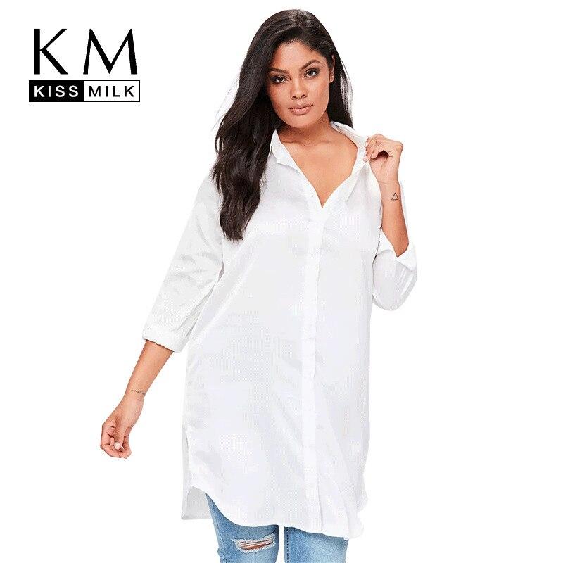 Kissmilk Plus Size Women Blouse Long Sleeve Solid White Midi Floral Embroidery Slit Shirt Dress