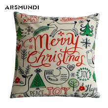 Christmas Linen Printed Cushion Cover Home Decorative Snowman pillow cover Living Room Cute Letter Pillow Cover waist Throw цена