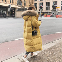 Long Winter Down Cotton Jacket Women Loose Large Fur Collar Hooded Coat Female Warm Thicken Overcoat Winter Jacket Padded Q1691